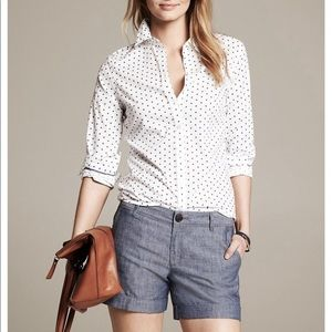 No-iron button-up shirt - white with navy dots